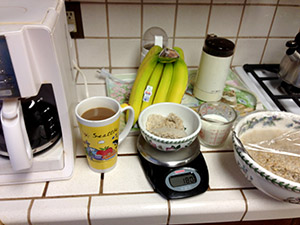 Coffee, steel-cut Irish oatmeal, banana, 1% milk 357 cals.