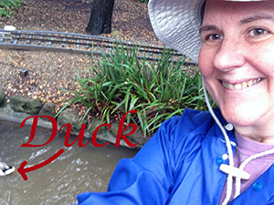 Laurie makes an attempt to take a selfie that includes a duck in the background!