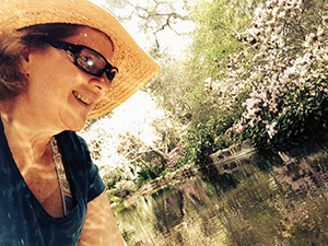 Laurie's visiting the koi pond before podcasting at Descanso Gardens