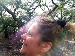 The reflection of the sun rays on my face in the oak forest at Descanso Gardens.