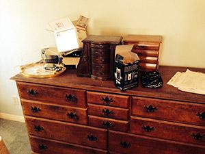 A bit of a clutter on the dresser.