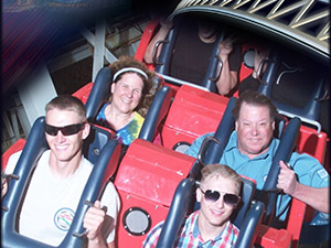 Laurie and Mark on the California Adventure roller coaster