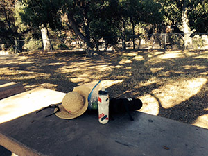 Laurie's hat, water and assorted stuff on the picnic table at the park