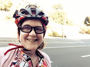 Laurie in bike gear