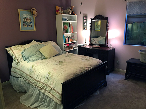 purple toned guest room with NO clutter