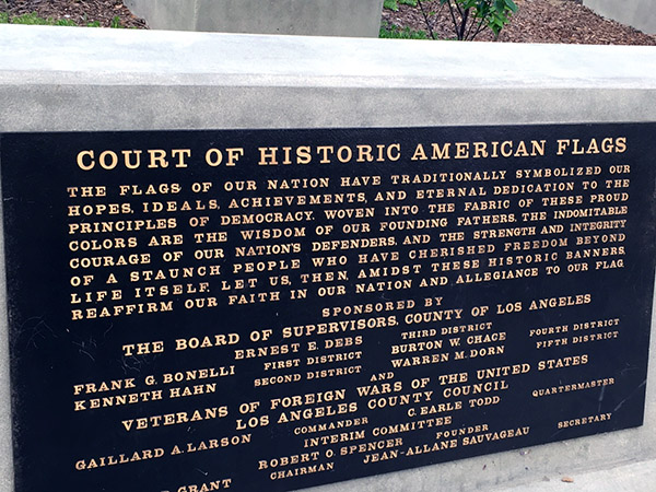 Plaque that tells about the Court of Historic American Flags