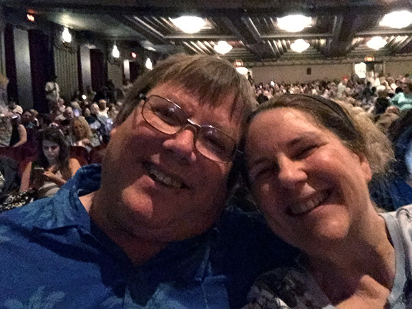 Laurie and Mark selfie from the Pantages Theater