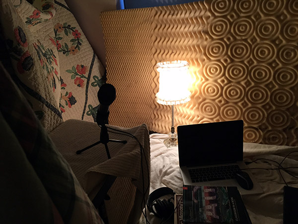 Home made sound booth solution with blankets and foam draped everywhere!