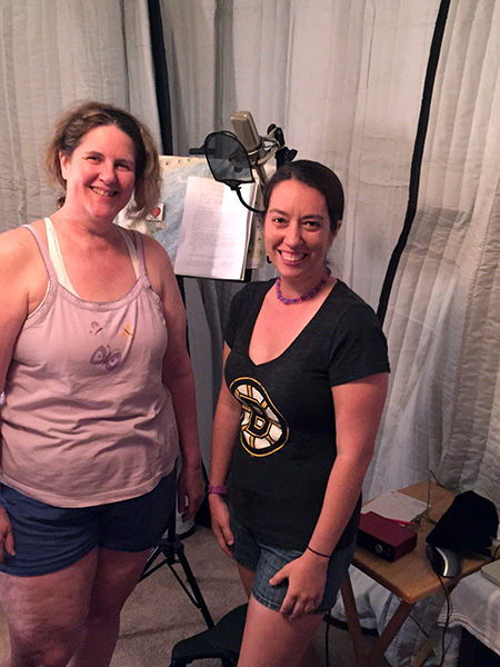 Laurie and Samantha in shorts in Laurie's home studio
