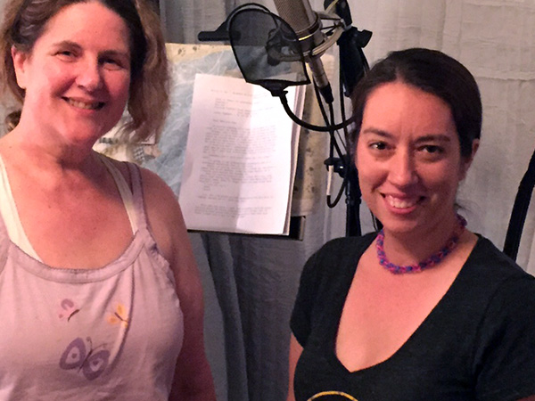 Laurie and Samantha in Laurie's home studio