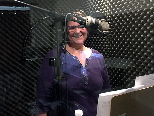 Laurie in the sound booth