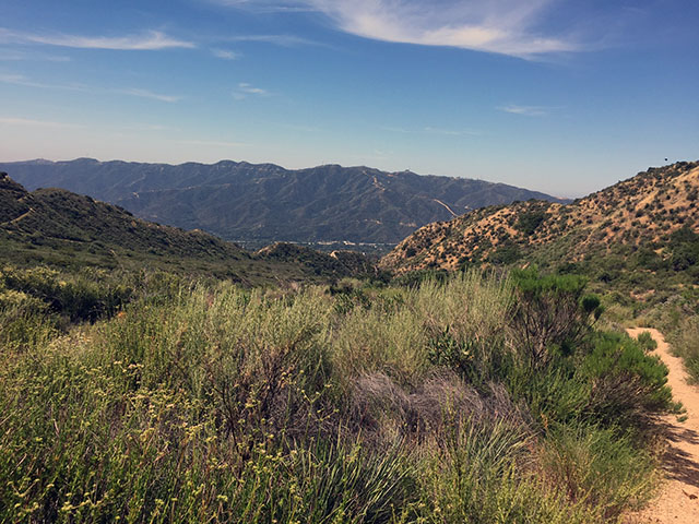 Sunny day on the hiking trail through the foothills.