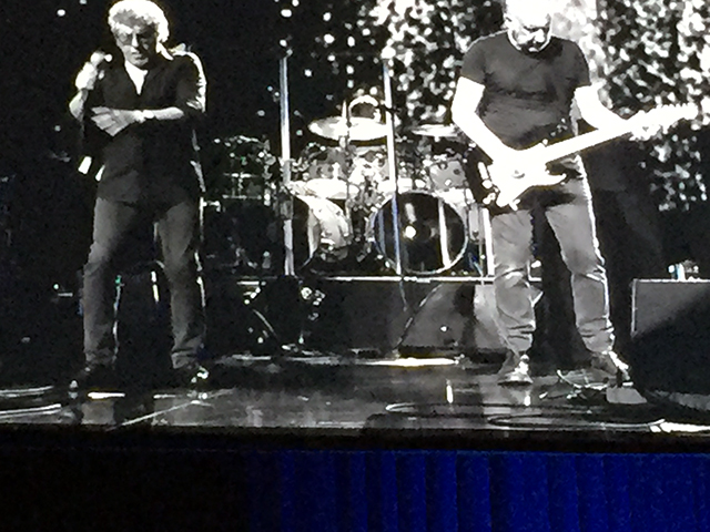 Black and white photo of Roger and Pete at Caesar's Palace