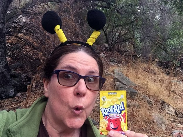 Laurie at the podcast rock wearing bee antennas and holding a package of lemon Kook-Aid