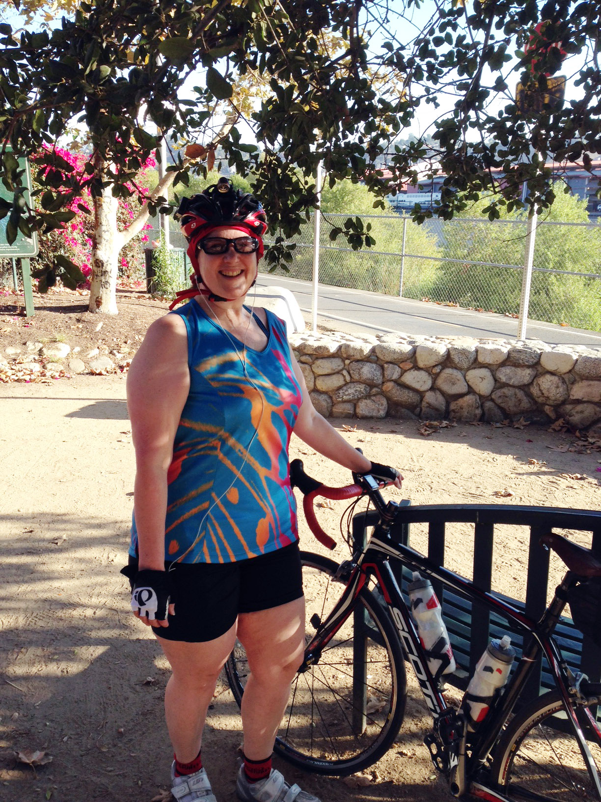 Laurie in bike shorts
