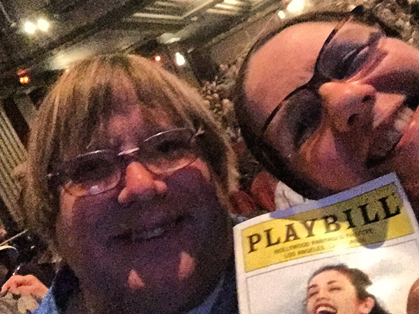 Laurie and Mark in their seats at the Pantages theater in Hollywood waiting for Mama Mia