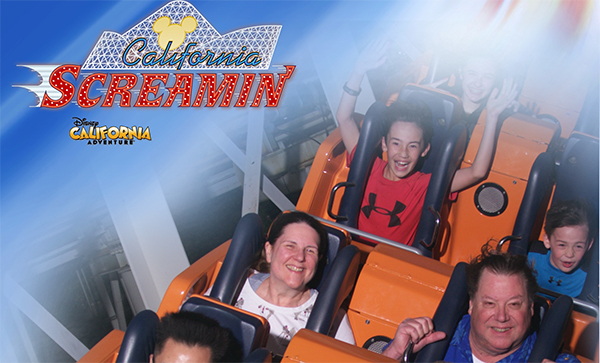Laurie and Mark on a roller coaster