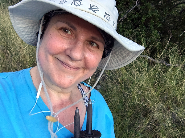 Laurie Smiling in her hiking hat