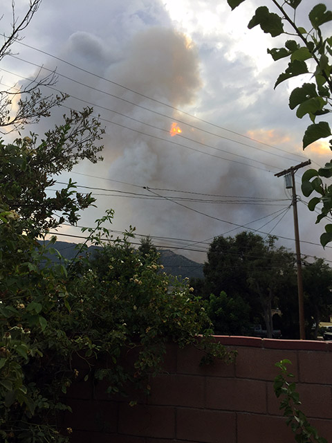 Smoke and fire in the foothills